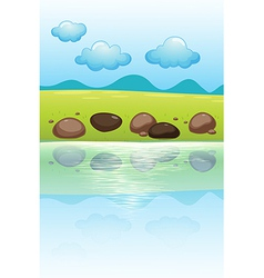 Stones near the river vector image