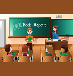 student doing a book report vector image
