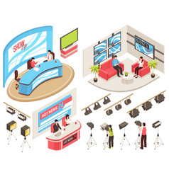 Tv studio isometric set vector