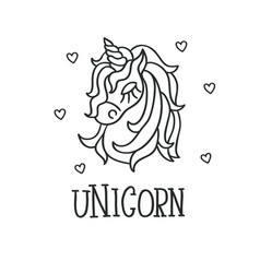 Unicorn head and hearts sketch icon vector