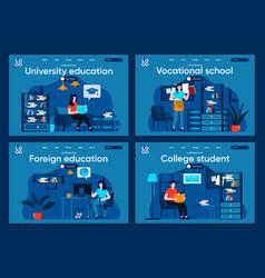 university education flat landing pages set vector image