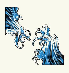 Vintage big sea tsunami waves vector