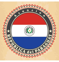 Vintage label cards of Paraguay flag vector