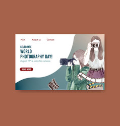website template design with world photography vector image