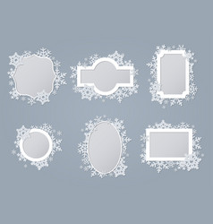 white snowflake frames collection set vector image