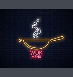 Wok neon banner frying pan cooking menu vector