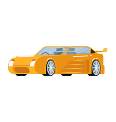 Yellow sport car icon vector