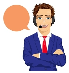 Young male customer support phone operator vector