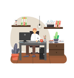Young man freelancer working on computer from vector