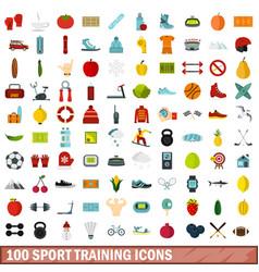 100 sport training icons set flat style vector image