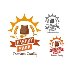 Bakery retro sign with flour and wheat vector image vector image