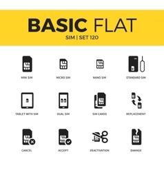 Basic set of SIM icons vector image vector image