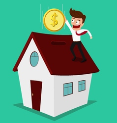 Businessman putting coin inside the house vector image