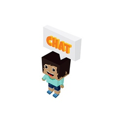 chat bubble cartoon character isometric theme vector image vector image