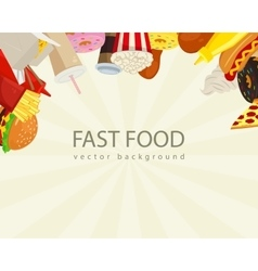 Fast food background with colorful fast food icons vector image vector image