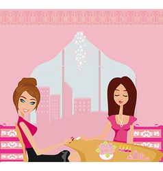 girl doing manicure in beauty salon vector image vector image