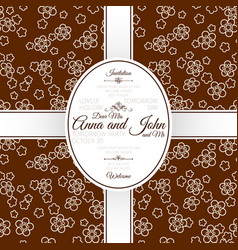 invitation card with brown japanese pattern vector image
