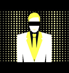 man in a white suit with a tie in pop art style vector image