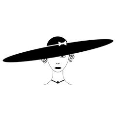 Beautiful woman wearing vintage hat vector