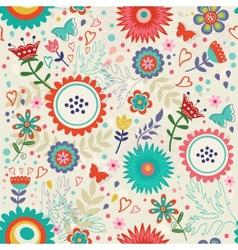 Blooming flowers pattern vector