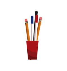 cup with pencil pen utensils vector image vector image