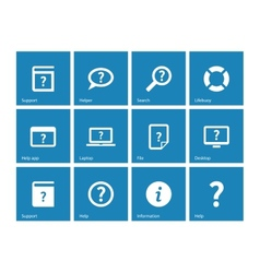Help and FAQ icons on blue background vector image