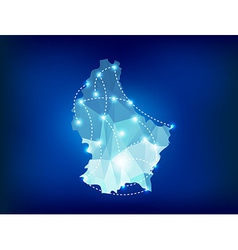 Luxembourg country map polygonal with spot lights vector