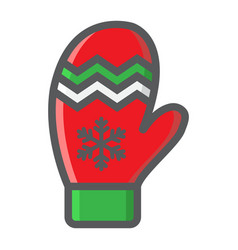 mitten filled outline icon new year and christmas vector image vector image