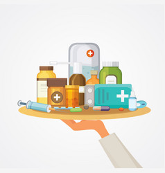 pharmacy concept with pills capsules doctor hand vector image vector image