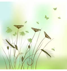 real grass silhouette summer background vector image