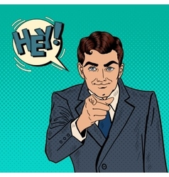 Businessman Pointing Finger at You Pop Art vector image vector image