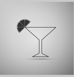 martini glass icon cocktail with lime symbol vector image