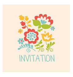 retro style flowers in pastel color floral folk vector image