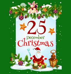 santa claus and christmas gift greeting card vector image