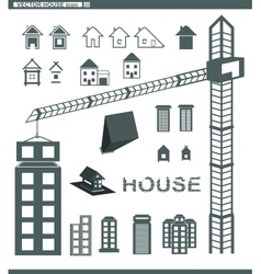 set icons building and houses vector image vector image