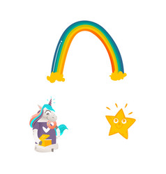 Cartoon unicorn character isolated set vector
