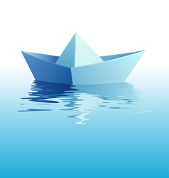 paper ship on water vector image vector image