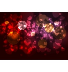 Purple and red background with blurred hearts and vector image vector image