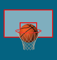 realistic leather playing ball in basketball hoop vector image