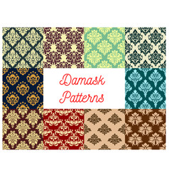 seamless pattern set of floral damask ornament vector image vector image