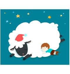 sleeping boy with fluffy sheep vector image vector image