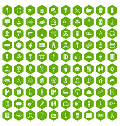 100 renovation icons hexagon green vector