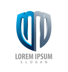 3d initial letter m shield logo concept design vector image