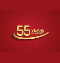 55 years anniversary logo style with swoosh vector