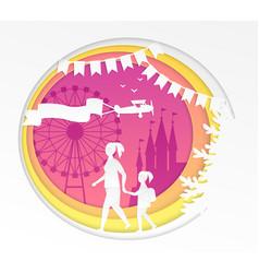Amusement park - modern paper cut vector