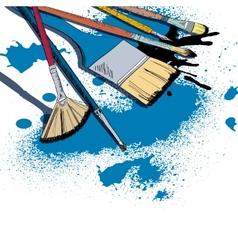 Artist brushes sketch emblem vector