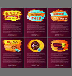 autumn sale posters set promo advertising labels vector image