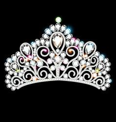 beautiful diadem crown tiara female with precious vector image