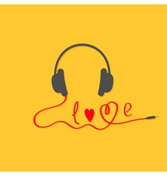 Black and red headphones Love card Music icon vector image