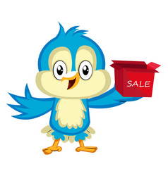 Blue bird is holding sale box on white background vector